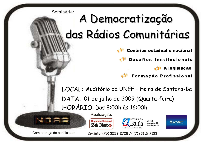 Seminário: Democratização das Rádios Comunitárias
