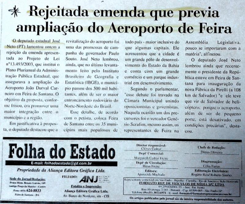 Rejeitada emenda que previa ampliação do Aeroporto de Feira (Reportagem publicada em 2003)