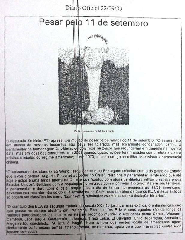 Moção de Pesar - 11 de Setembro - Diário Oficial da Bahia 22.09.13