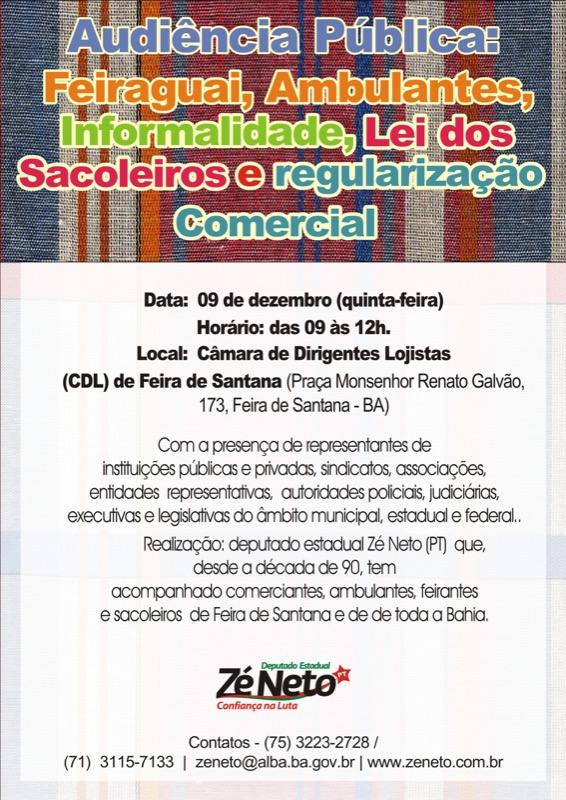 Audiência Pública \'Feiraguai, Ambulantes, Informalidade, Lei dos Sacoleiros e Regularização Comercial\'