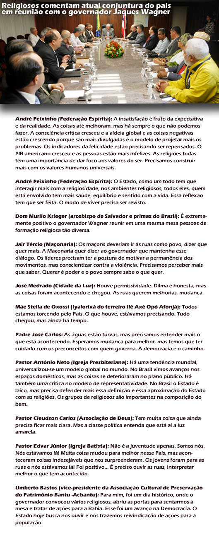 Comentários de religiosos sobre atual conjuntura do Brasil
