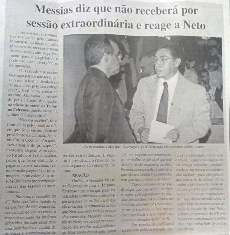 Matéria do Tribuna Feirense, de 11 de julho de 2003