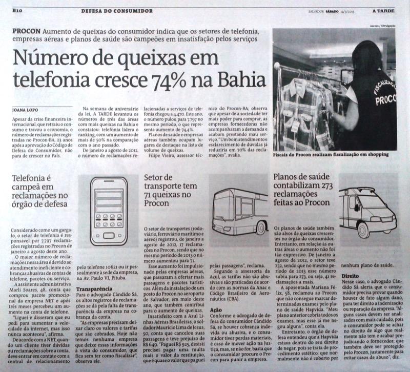 Número de queixas em telefonia cresce 74% na Bahia