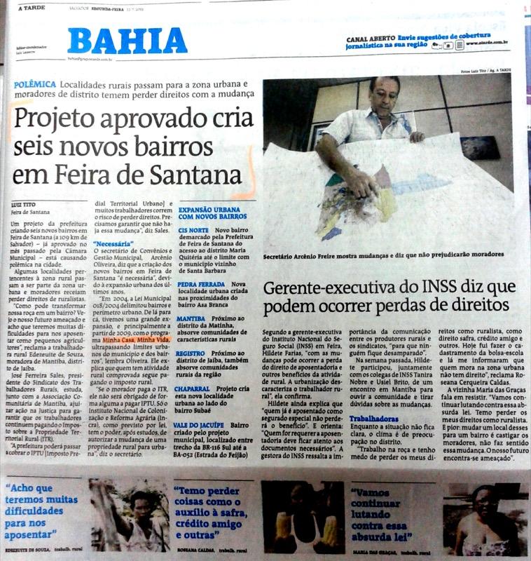 A TARDE: Projeto aprovado cria seis novos bairros em Feira de Santana