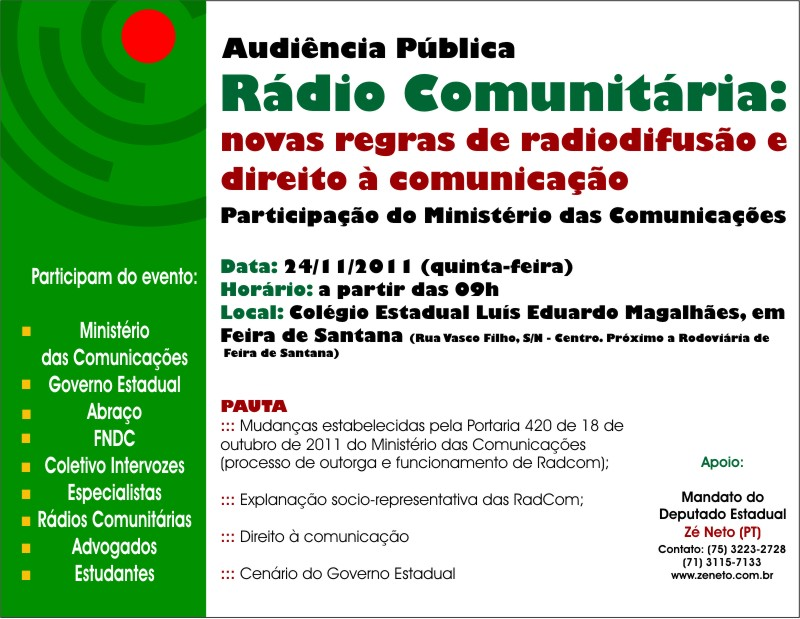 Convite para a Audiência Pública Rádio Comunitária: novas regras de radiodifusão e direito à comunicação