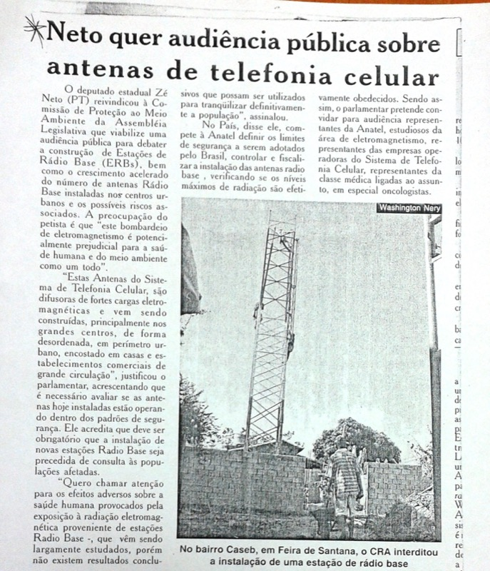 Reportagem: Zé Neto quer audiência pública sobre instalação de antenas de telefonia celular