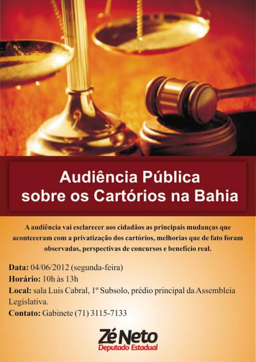 Audiência Pública Privatização dos Cartórios