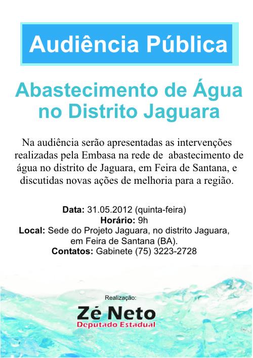 Audiência Pública em Jaguara debaterá abastecimento de água no distrito