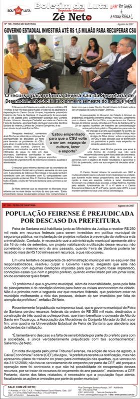 Boletim 106 - Governo Estadual investirá até 1,5 milhões para recuperar CSU