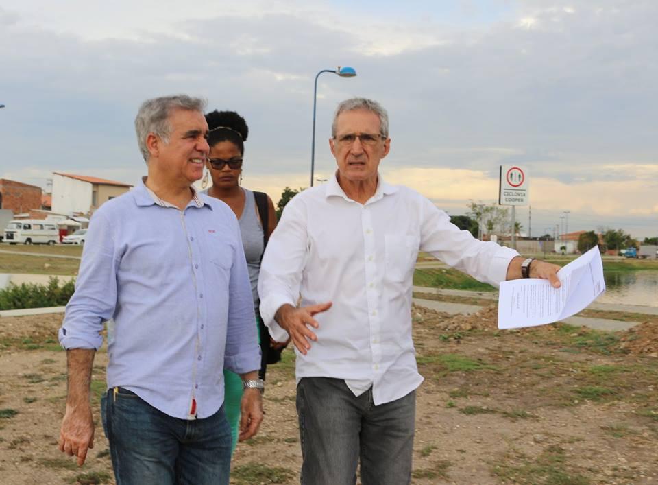 Visita às obras da Lagoa Grande com representantes da Conder, Embasa e comunidade local