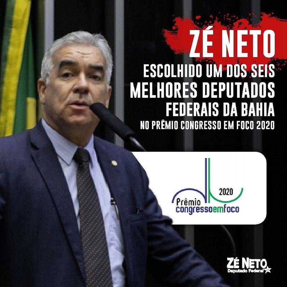 No Prêmio Congresso em Foco 2020, Zé Neto é escolhido um dos seis melhores deputados federais da Bahia