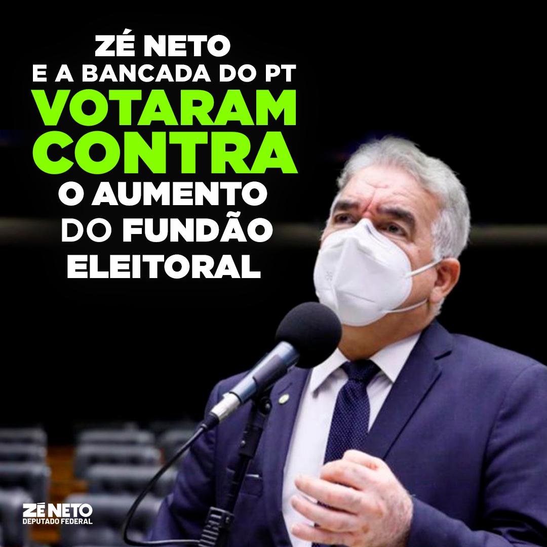 Votei contra o aumento do fundo eleitoral, junto com a Bancada do PT na Câmara