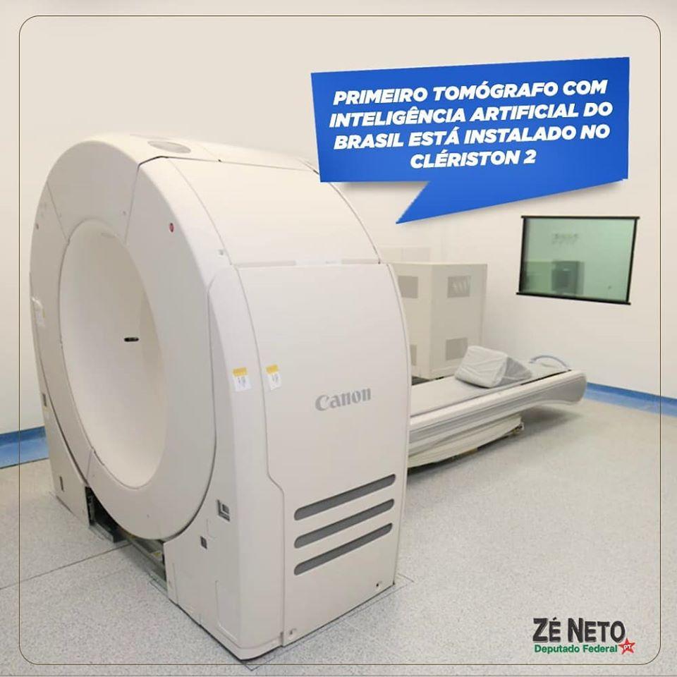 Primeiro tomógrafo com inteligência artificial do Brasil e atendimento 100% SUS está instalado no Clériston 2