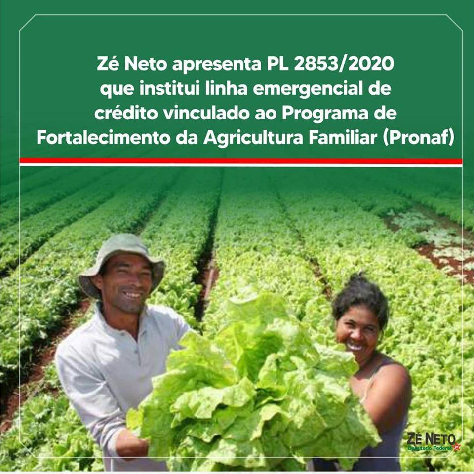 Zé Neto apresenta PL2853/2020 que institui linha emergencial de crédito vinculado ao Programa de Fortalecimento da Agricultura Familiar