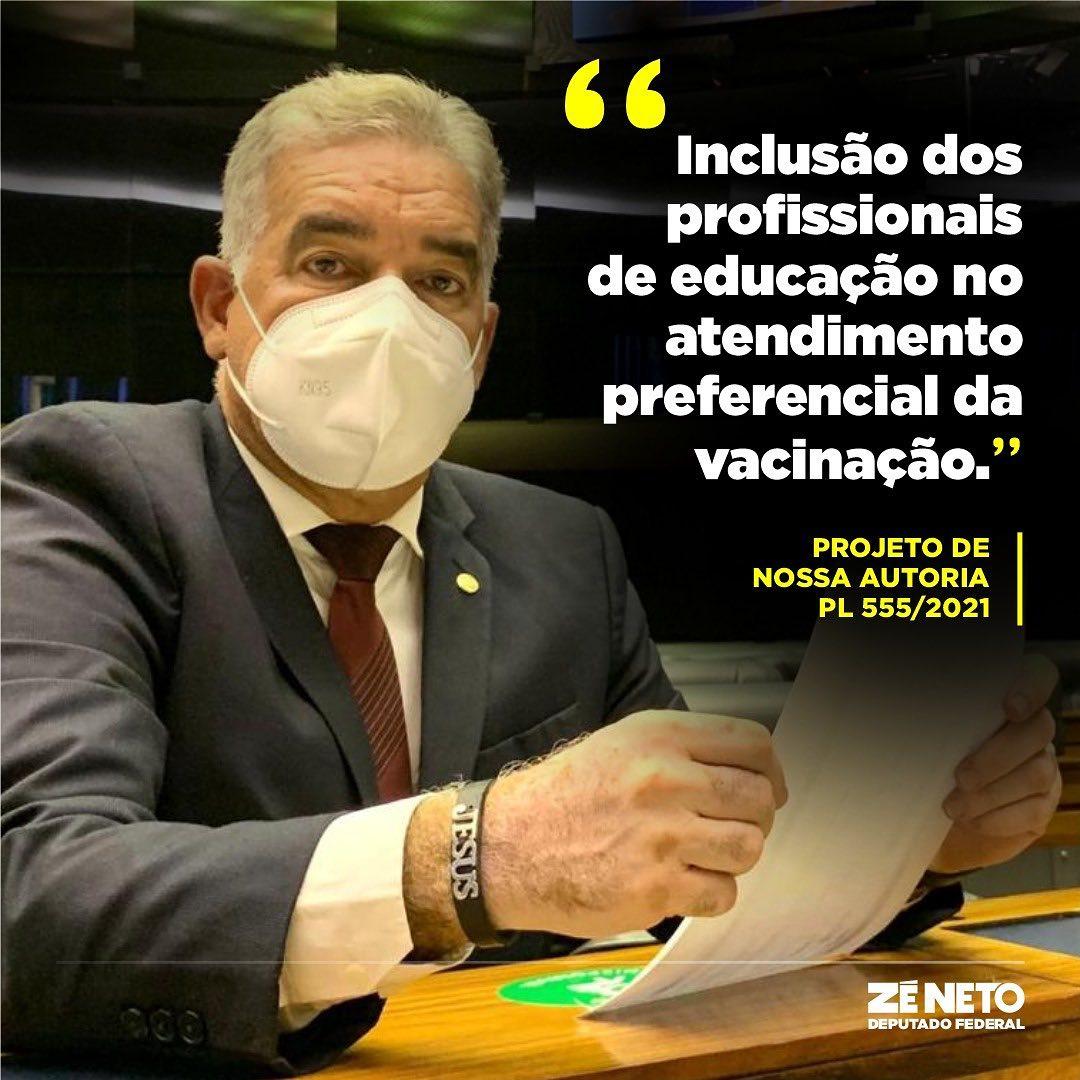 Zé Neto defende inclusão dos profissionais de educação no atendimento preferencial da vacinação