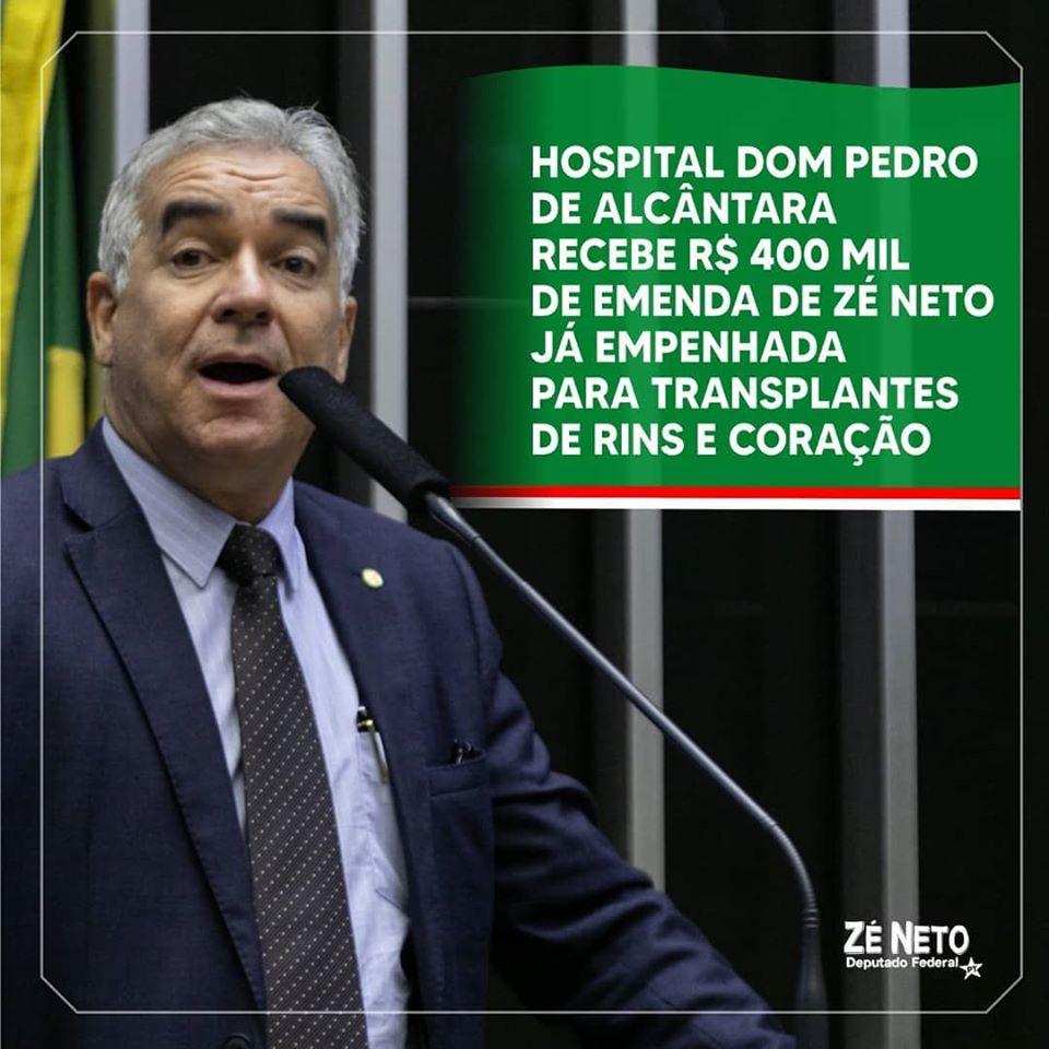 Emenda de R$ 400 mil do Dep Zé Neto ajudará Hosp. Dom Pedro em transplante de rins e coração