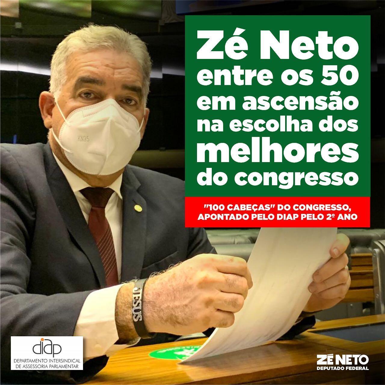 Zé Neto está entre os 50 em ascensão na escolha dos melhores do congresso