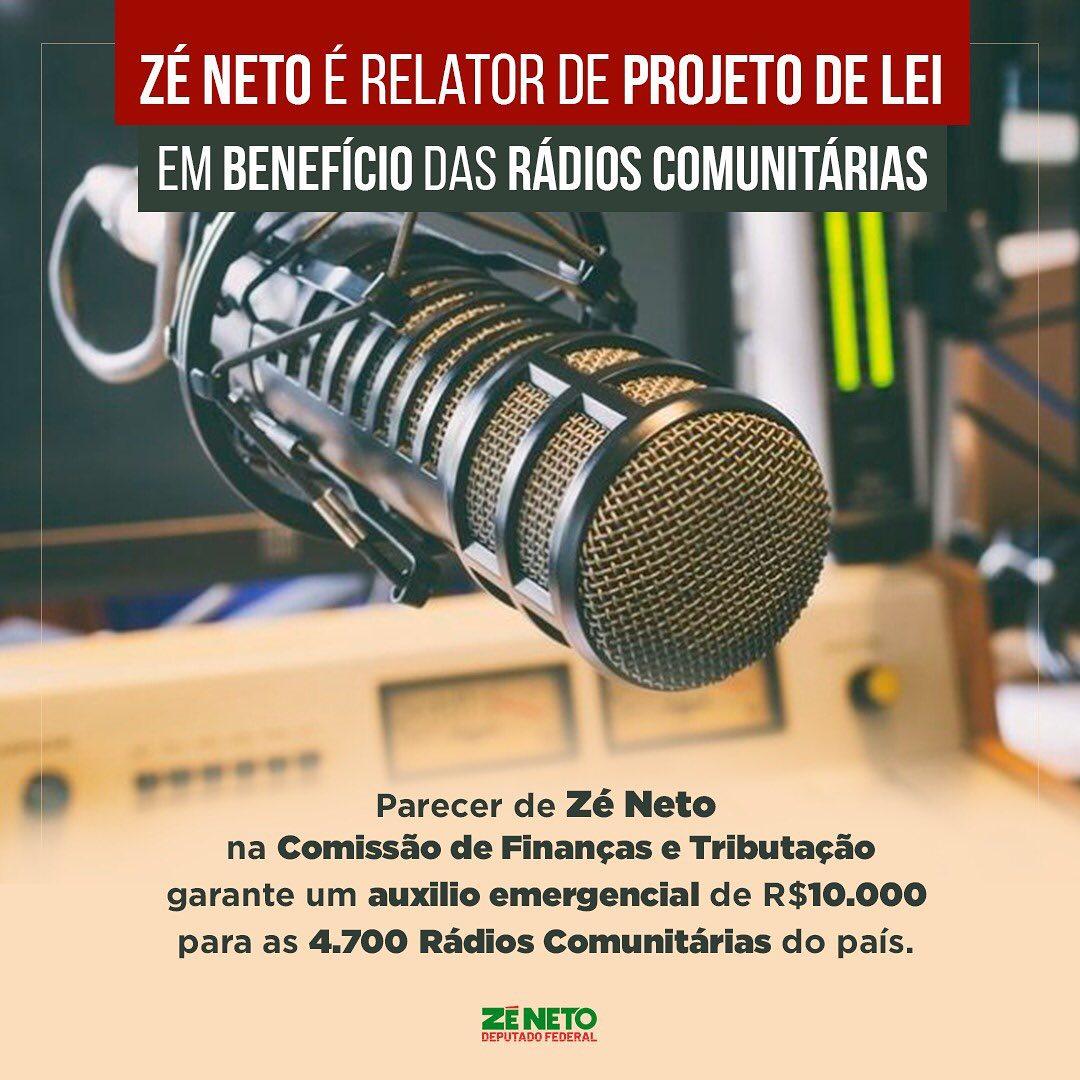 O deputado federal Zé Neto (PT-BA) é o relator do Projeto de Lei (PL) 2805/20 que cria subsídio de R$ 10 mil para as 4.700 rádios comunitárias em operação no Brasil.